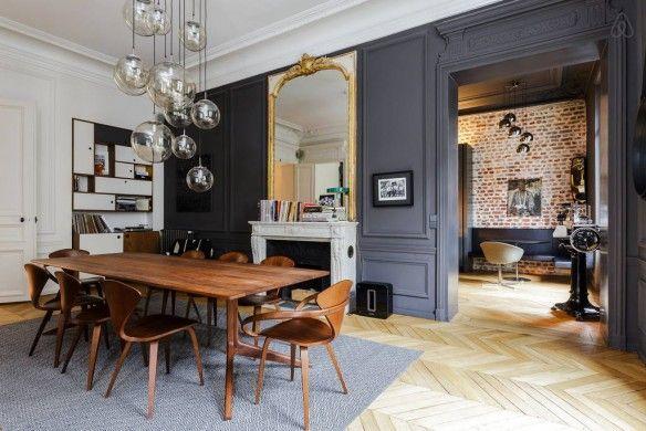 salle manger id es d co des moulures et boiseries noires leading. Black Bedroom Furniture Sets. Home Design Ideas