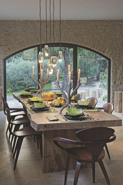 Grande Table A Manger Avec Rallonge: Salle à Manger Au Style Rustique Habillée