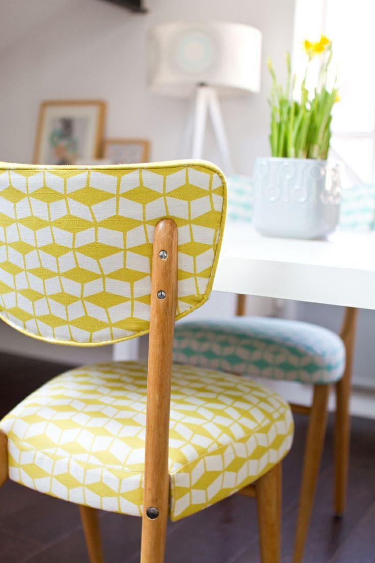 id e relooking cuisine chaise vintage chaise jaune tissu jaune graphique chaise. Black Bedroom Furniture Sets. Home Design Ideas