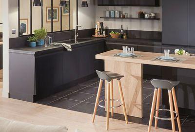 id e relooking cuisine cuisine ytrac disponible en noir blanc vison et d cor bois structur. Black Bedroom Furniture Sets. Home Design Ideas