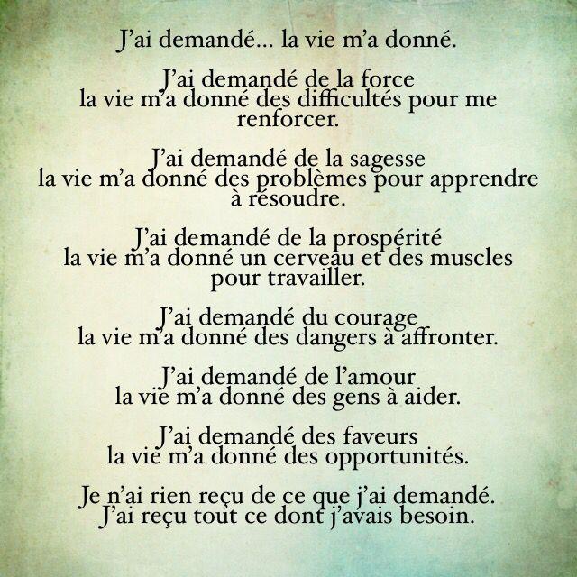 Citation J Ai Demandé La Vie M A Donné Texte Court à