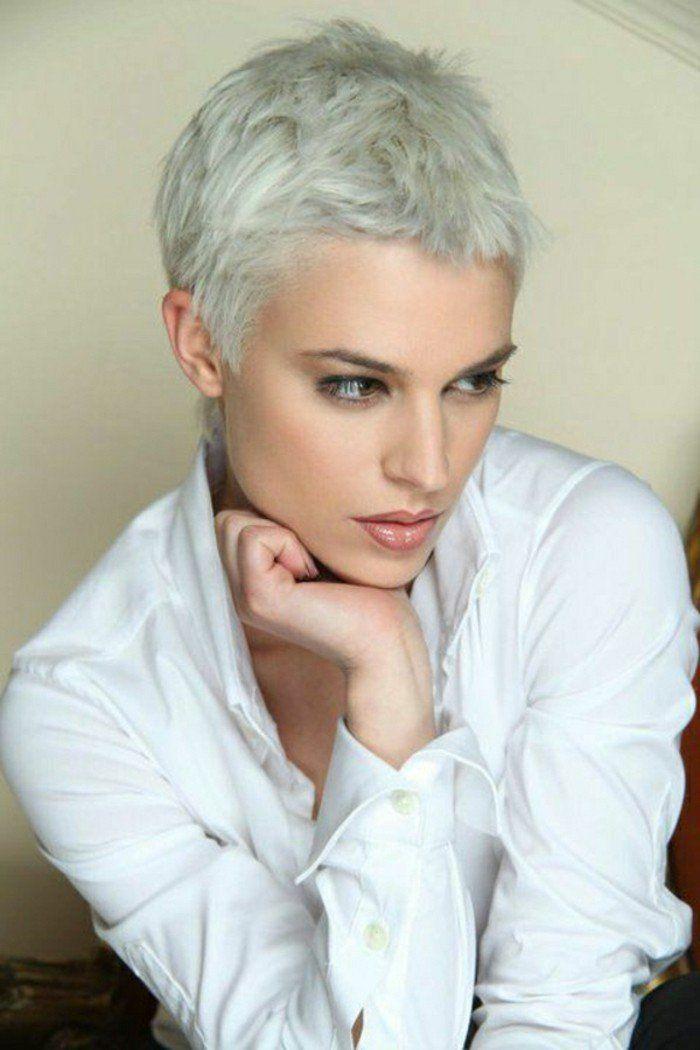 Citation - modele coupe courte cheveux blonds gris, chemise blanche femme... - ListSpirit.com ...