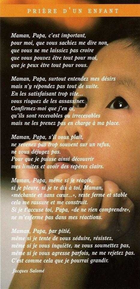Citation Prière De L Enfant à Ses Parents Listspirit