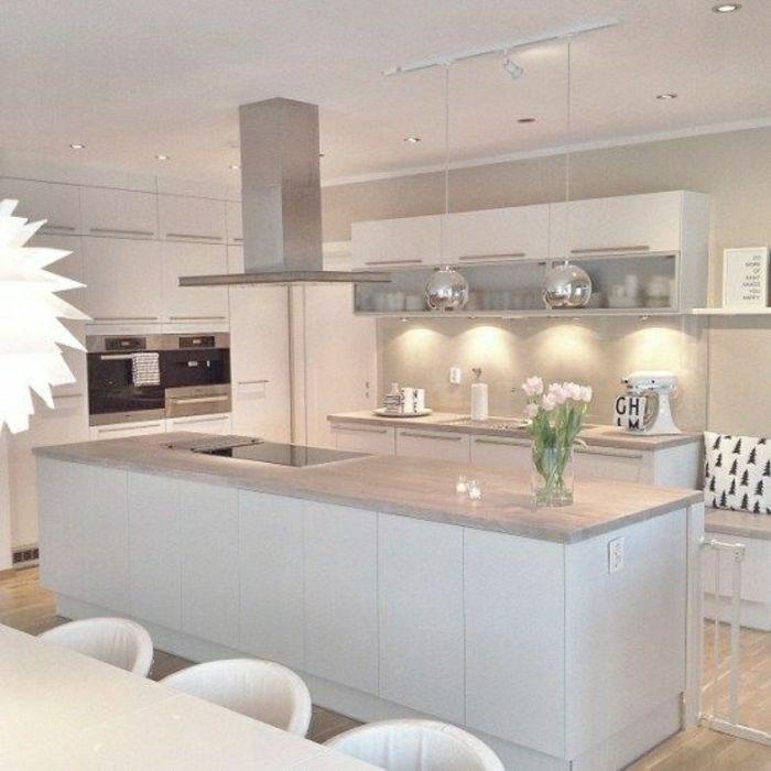 Déco Salon - 53 variantes pour les cuisines blanches! - ListSpirit ...