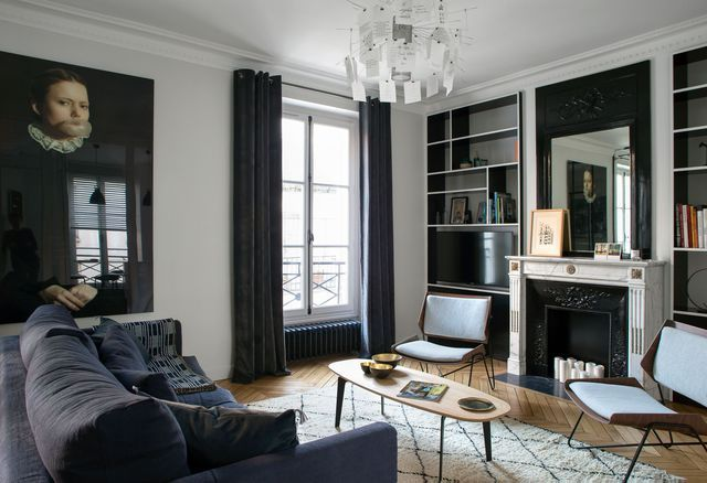 d co salon alliance d 39 ancien et de moderne dans ce 90 m2 leading. Black Bedroom Furniture Sets. Home Design Ideas