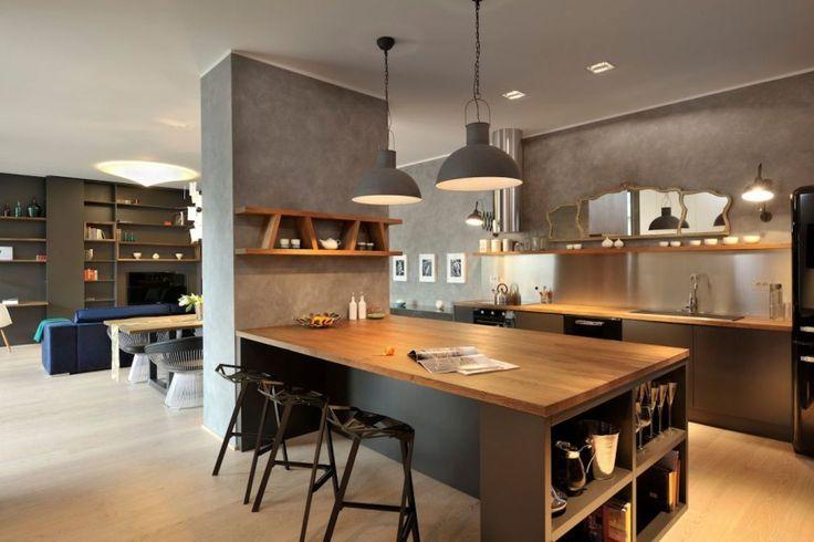 Deco Salon Appartement Contemporain Noir Et Bois