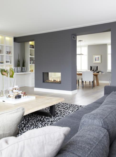 d co salon blanc et gris cheminee double foyer. Black Bedroom Furniture Sets. Home Design Ideas