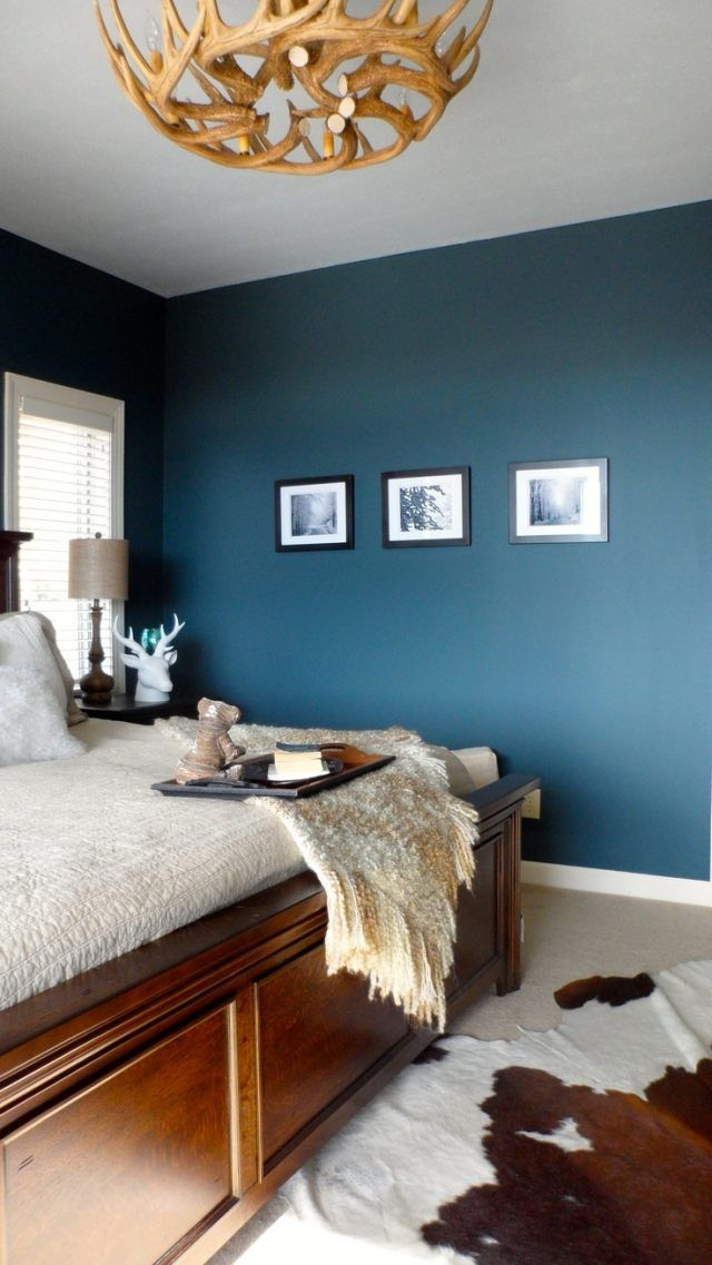 d co salon couleur de chambre tendance bleu p trole et tapis peau de vache. Black Bedroom Furniture Sets. Home Design Ideas
