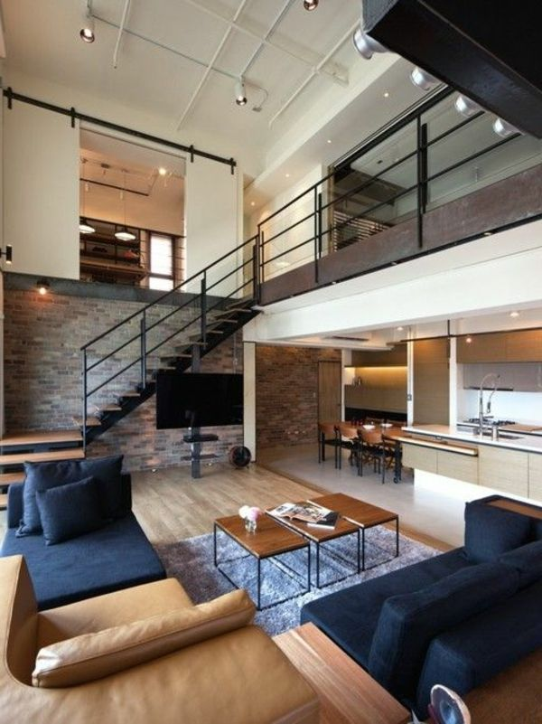 d co salon escalier pour mezzanine lofts modernes leading inspiration. Black Bedroom Furniture Sets. Home Design Ideas