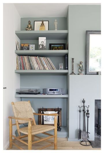 d co salon etagere dans mur peinte en gris clair leading inspiration. Black Bedroom Furniture Sets. Home Design Ideas