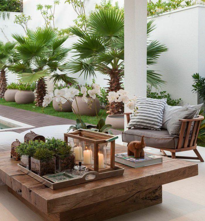 Déco Salon - les meubles d\'extérieur en bois massif et plantes ...