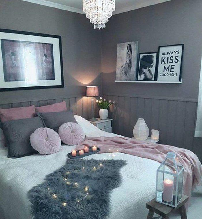 Déco Salon - peinture-mur-grise-parure-de-lit-en-rose-gris-et ...