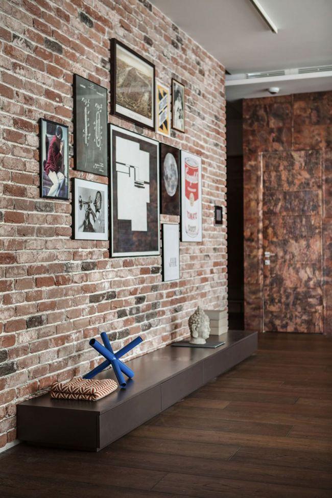 Déco Salon - Salon Avec Mur De Briques Rouges  - Listspirit.Com