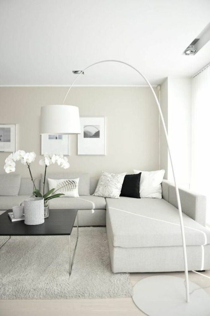 D co salon salon beige avec lampe de salon en forme d for Salon contemporain blanc