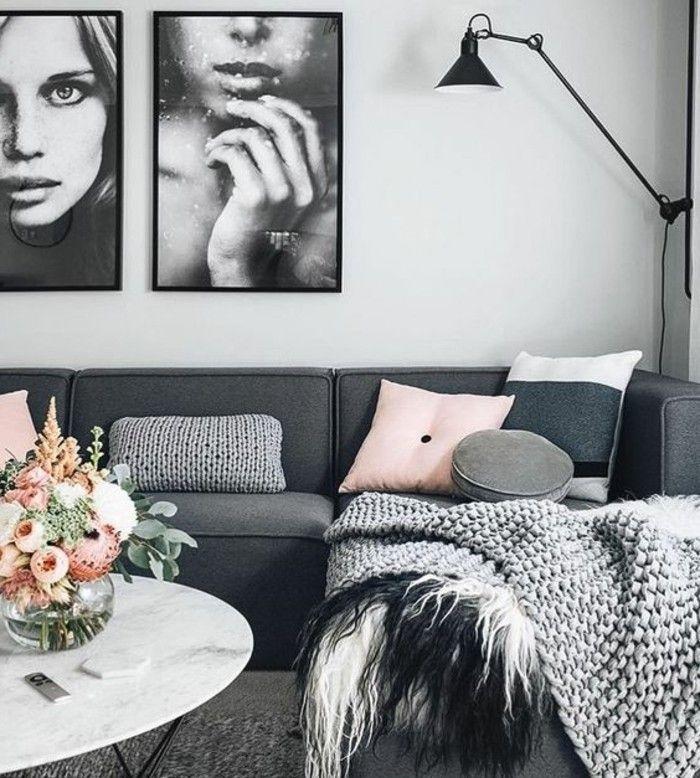 Déco Salon Salon En Gris Et Blanc Très Esthétique Canapé
