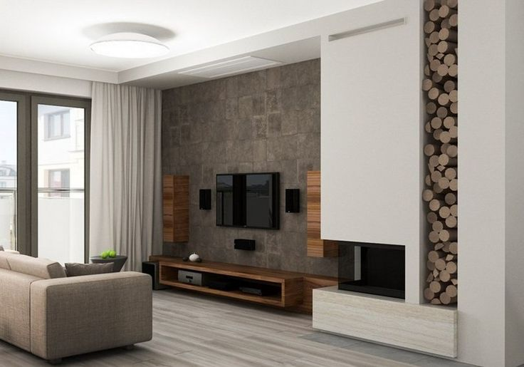 d co salon salon moderne avec d co murale aspect bois meuble tv bas et colonnes en bois. Black Bedroom Furniture Sets. Home Design Ideas