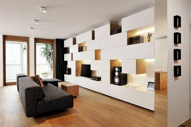 Déco Salon - salon moderne avec meuble télé blanc ...