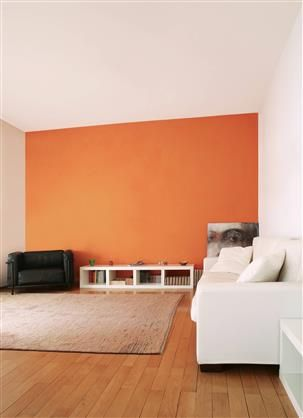 d co salon un pan de mur orange inspirations tollens diteur de couleurs listspirit. Black Bedroom Furniture Sets. Home Design Ideas