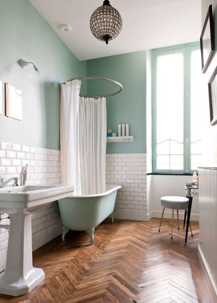 Idée décoration Salle de bain - peinture vert céladon ...