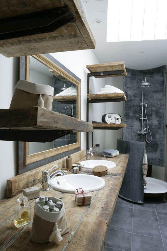 Idée Décoration Salle De Bain Mélange De Béton Et De Bois Dans - Idee deco salle de bain