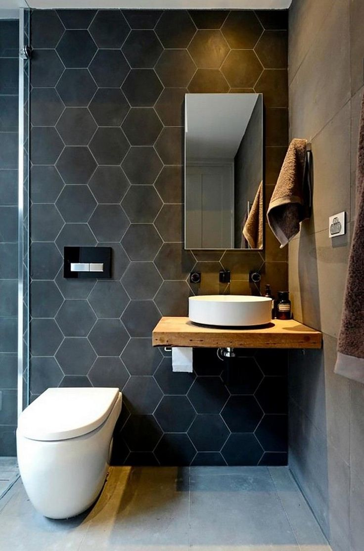 id e d coration salle de bain mobilier salle de bain en bois brut et carrelage hexagonal gris. Black Bedroom Furniture Sets. Home Design Ideas