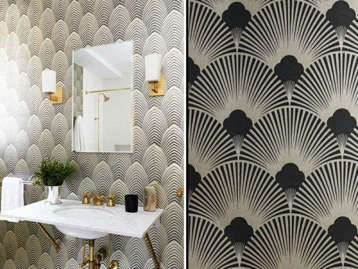 Idée décoration Salle de bain - Salle de bain avec papier peint de ...