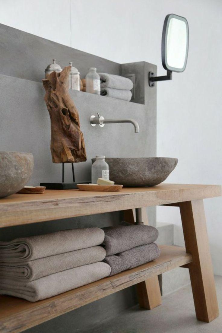 Idée décoration Salle de bain - Mur en béton ciré j\'aimerai assez en ...