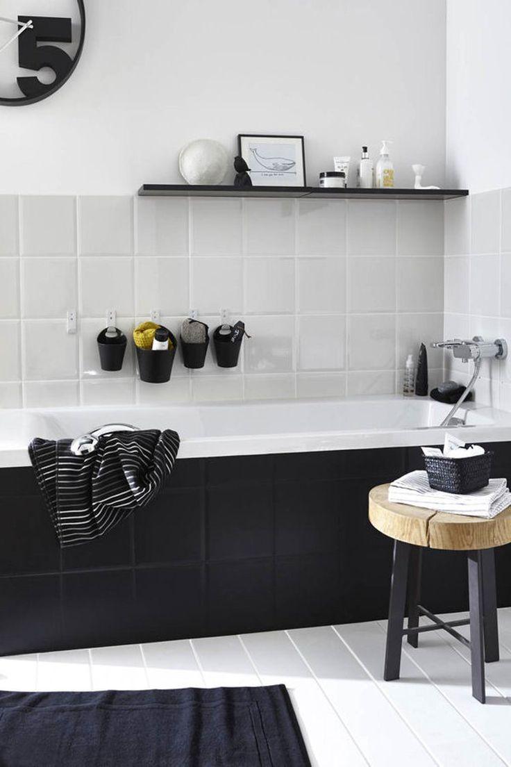 Idée décoration Salle de bain - salle de bain noire et blanche ...
