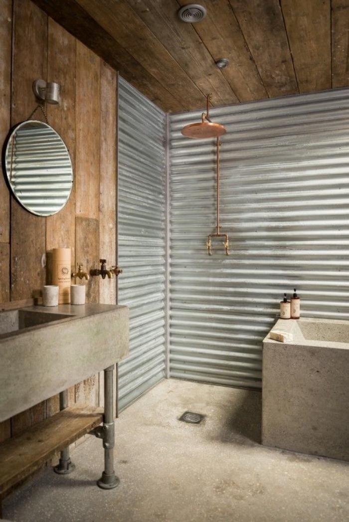 Idée décoration Salle de bain - salle de bain rustique, baignoire et ...