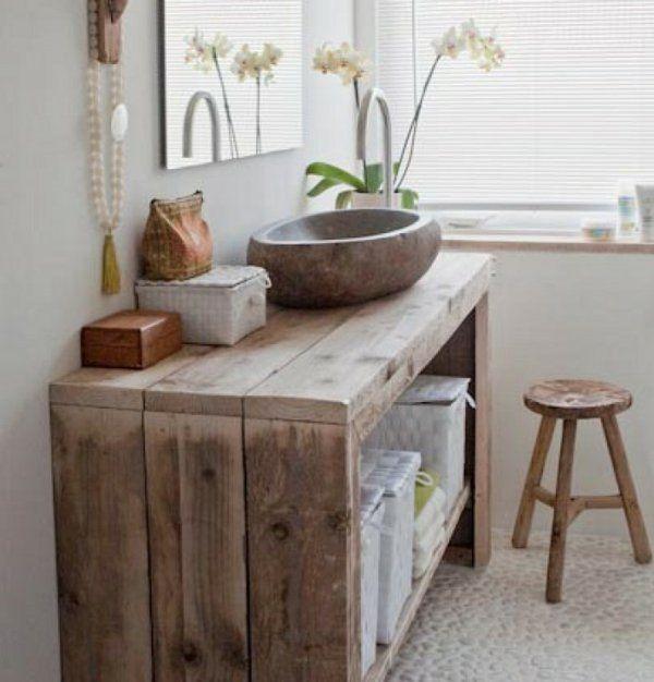 Idee Decoration Salle De Bain Simple Meuble En Bois Pour