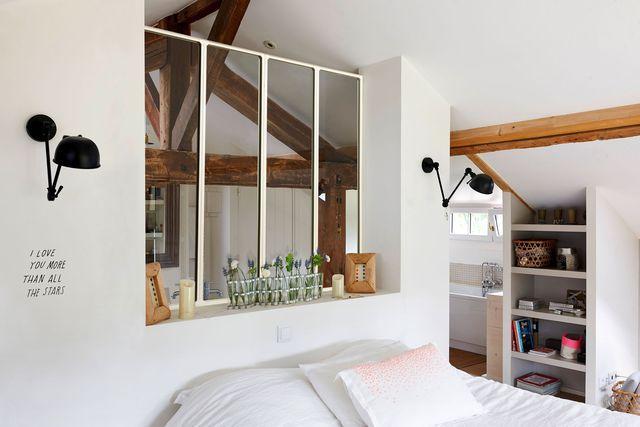 id e d coration salle de bain verri re blanche entre la salle de bains et la chambre pour. Black Bedroom Furniture Sets. Home Design Ideas