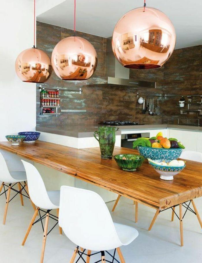 Id e relooking cuisine 1 cuisine americaine amenagement petite cuisine avec table en bois et - Idee amenagement petite cuisine ...