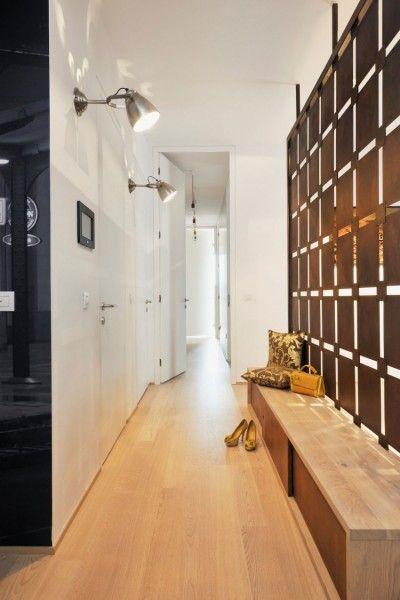 Idée relooking cuisine - couloir-aménagé-banc-paravent ...