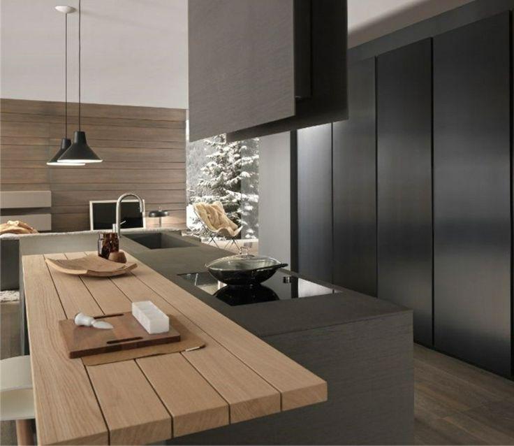 id e relooking cuisine cuisine noire et bois un espace moderne et intrigant. Black Bedroom Furniture Sets. Home Design Ideas