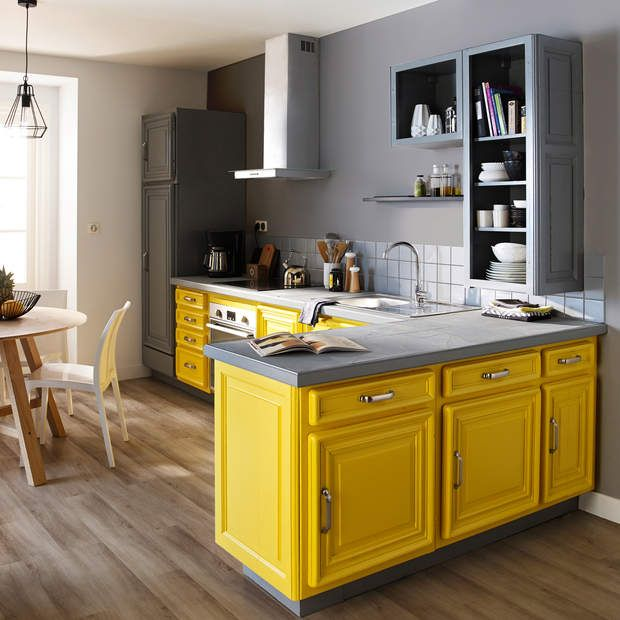 id e relooking cuisine le jaune tu osespeinture de r novation meubles cuisine teintes jaune. Black Bedroom Furniture Sets. Home Design Ideas