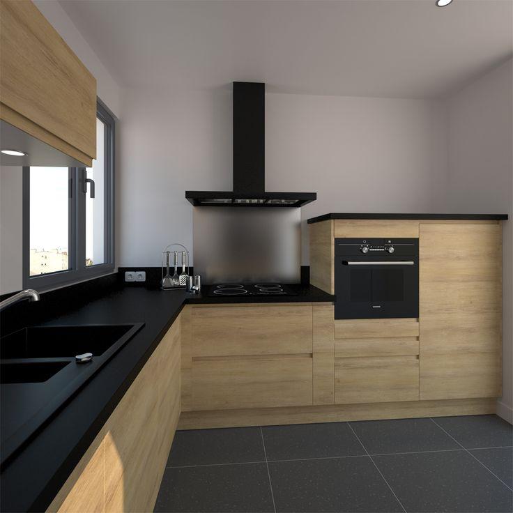 Une petite cuisine avec meubles blancs et plan de travail en bois
