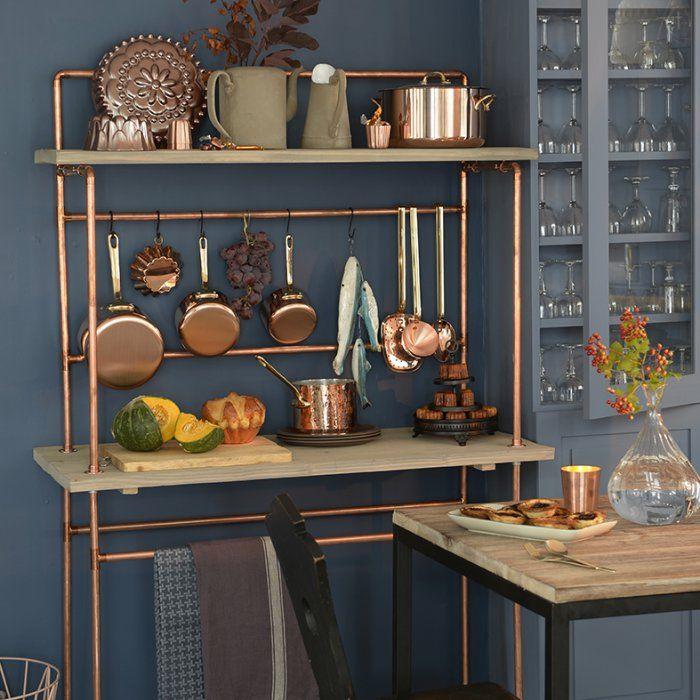 id e relooking cuisine une desserte de cuisine en cuivre et planche de bois. Black Bedroom Furniture Sets. Home Design Ideas