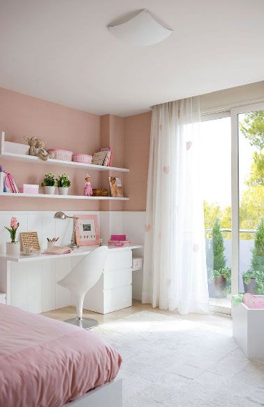 relooking et d coration 2017 2018 d co chambre fille peinture rose et mobilier blanc. Black Bedroom Furniture Sets. Home Design Ideas