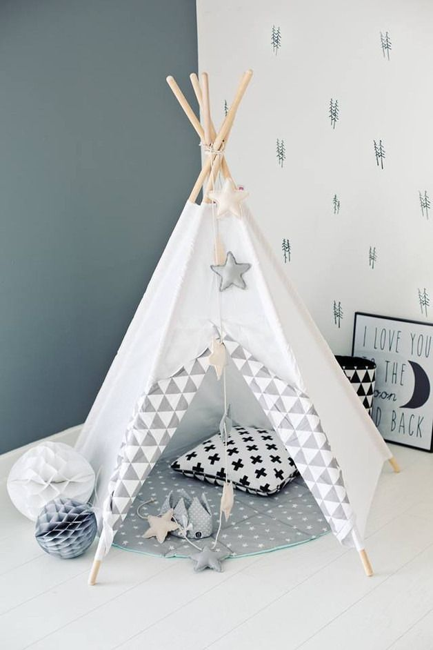 tipi d 39 indien tipi wigwam blanc zigzag gris chambre d. Black Bedroom Furniture Sets. Home Design Ideas
