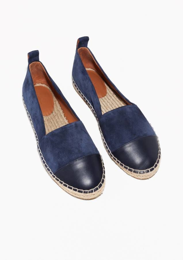 tendance chaussures 2017 espadrilles bleu marine bi mati re daim et cuir other stories. Black Bedroom Furniture Sets. Home Design Ideas