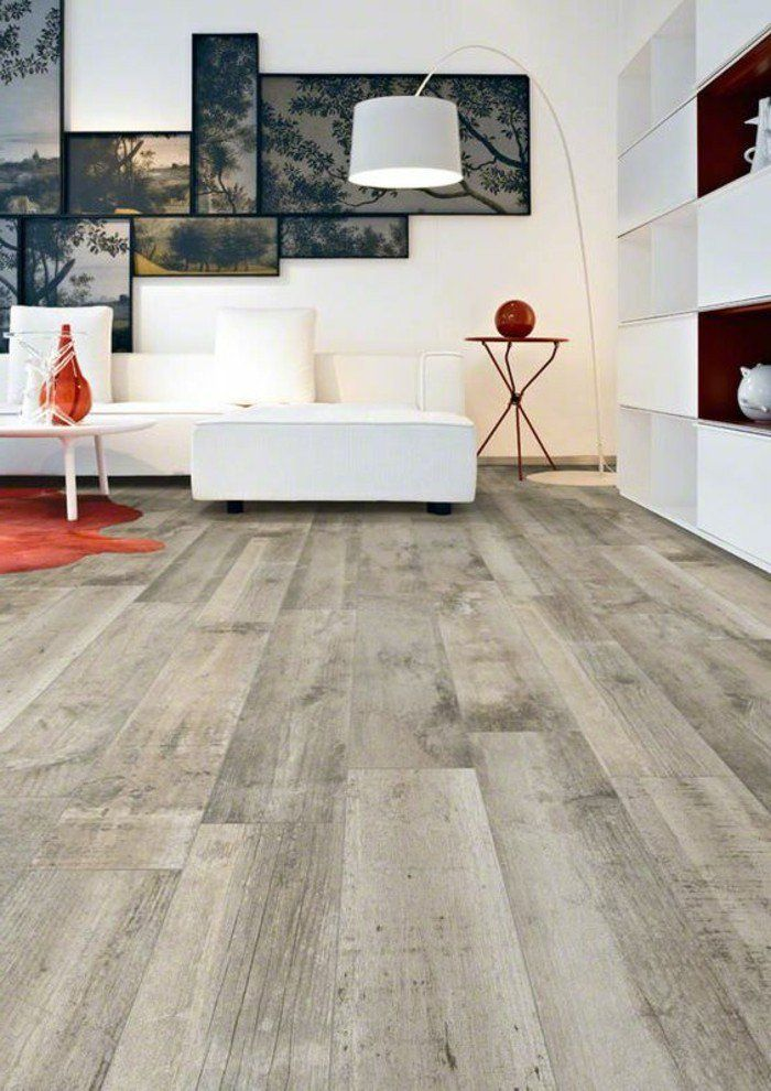 Déco Salon - carrelage parquet, salon moderne agencement blanc ...
