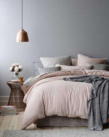 d co salon chambre couleur grise et ton de rose poudr leading. Black Bedroom Furniture Sets. Home Design Ideas