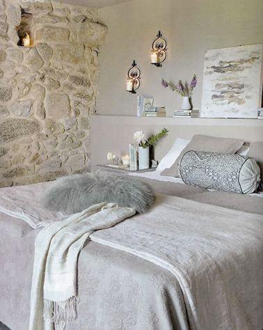 D co salon chambre grise d co zen mur en pierre et - Deco salon chambre ...