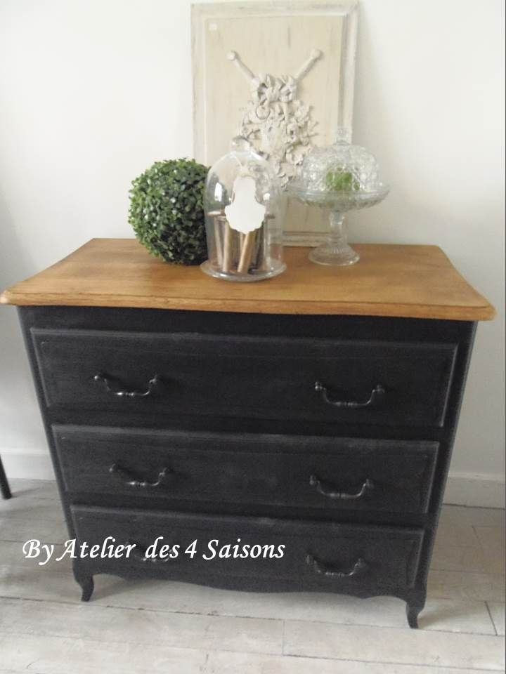 d co salon commode vintage patin e gris ardoise plateau en ch ne commode revisit pou. Black Bedroom Furniture Sets. Home Design Ideas