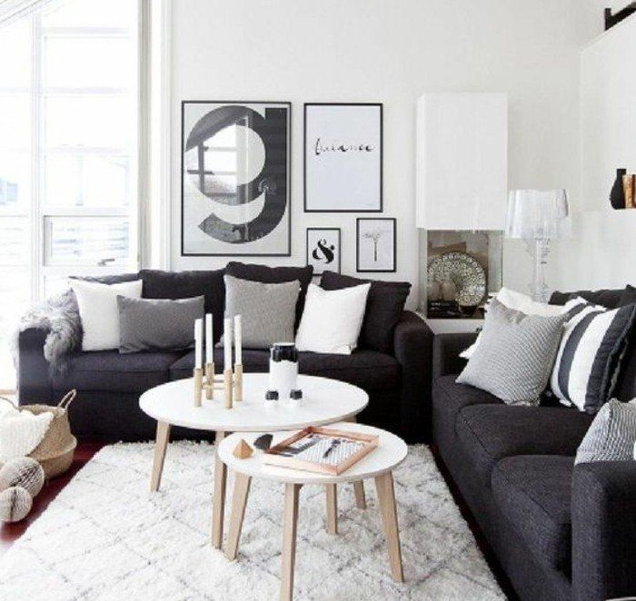 d co salon deco salon blanc amenagement salon scandinave canap couleur gris anthracite. Black Bedroom Furniture Sets. Home Design Ideas
