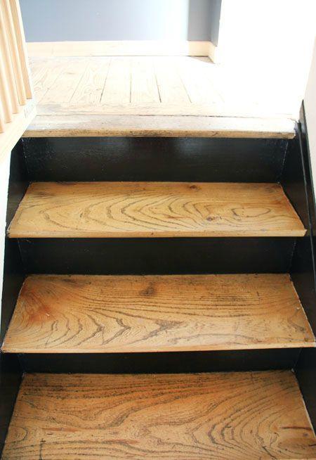 d co salon escalier tage marches couleur bois contremarches noires c. Black Bedroom Furniture Sets. Home Design Ideas