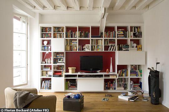 D co salon le meuble t l tout faire l 39 cran dispara t au leading - Meuble tv et bibliotheque ...