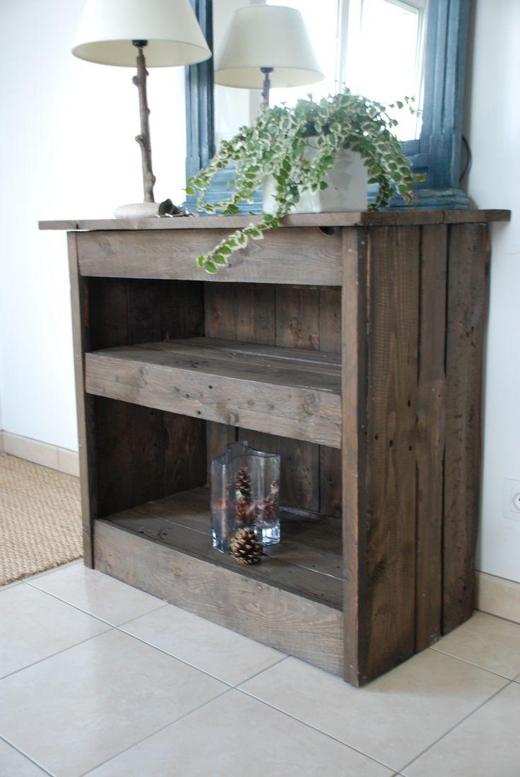 D co salon meuble d 39 entr e fait en bois de palettes for Meuble de salon bois