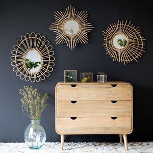 d co salon miroir rond en rotin naturel forme toile. Black Bedroom Furniture Sets. Home Design Ideas