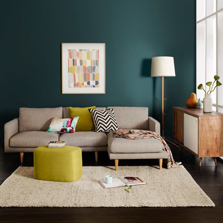 d co salon mur bleu canard fonc canap gris pouf et coussin jaune vert anis et graph. Black Bedroom Furniture Sets. Home Design Ideas
